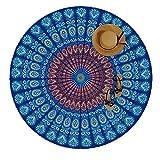 MOYA Life - indisches Mandala Strandtuch, rund, Baumwolle, Tischdecke, runde Yogamatte, Schal, Tapestry, Wandbehang, Strand Freizeit, Picknick Decke, Boho Wandtuch Hippie