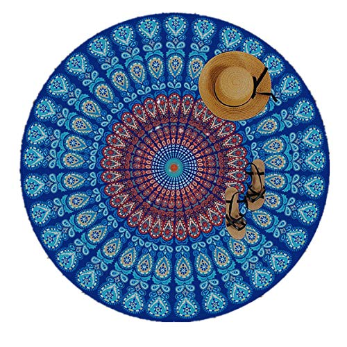 Moya Life Feather Peacock Round Mandala Tapiz