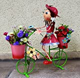 #10: Wonderland Big Pink GIRL ON BIKE with Two Pots Metal Planter / Pot, planter, planters for Home & Garden Decor , garden decoration, home decor, garden pots and planters