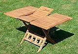 ASS Echt Teak Holz Klapptisch Holztisch Gartentisch Tisch in Verschiedenen Größen von Größe:Ausziehbar 100-140 x 80cm