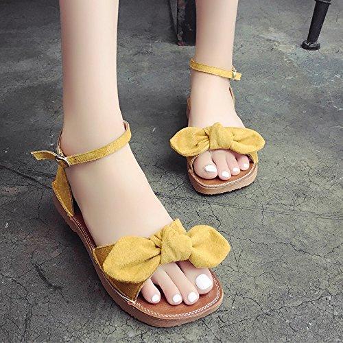 RUGAI-UE Butterfly punta di rugiada sandali studente fibbia Estate Donna Scarpe per il tempo libero Yellow