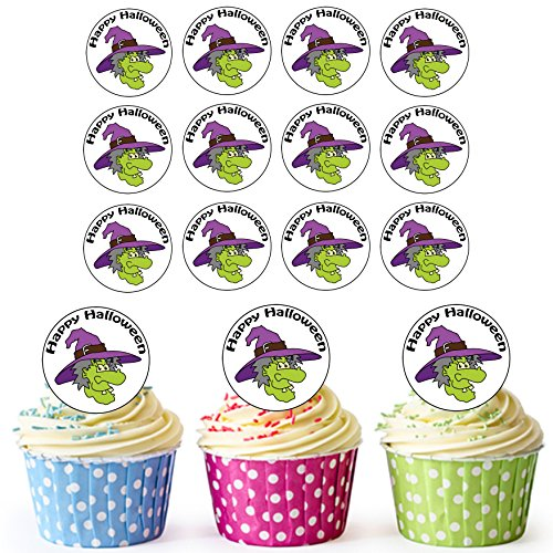 24 vorgeschnittenen – Kreise – Halloween Hexe Essbare Cupcake Topper/Halloween Kuchen (Up Dress Ideen Boy)