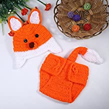 Bei wang Newborn Baby Photography Props Fox Outfit Girl and Boy Handmade Knitted Hat