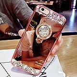 iPhone 6S Plus Hülle, Luxus Rhonestone Design SXUUXB iPhone 6Plus Kristallklar TPU Soft Silikon Skin Schale Überzug Rose Gold Rahmen mit Bling Glitzer Glänzende Spiegel Zurück Ring Ständer Halter Drop-Schutz Haut Shell für Apple iPhone 6Plus/6SPlus 5.5 Zoll + 1 x Free Bracket (Farbe Zufällig)