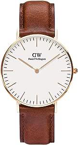 Daniel Wellington Damen-Armbanduhr Classic St.Mawes Analog Quarz Leder Rosegold/braun DW00100035