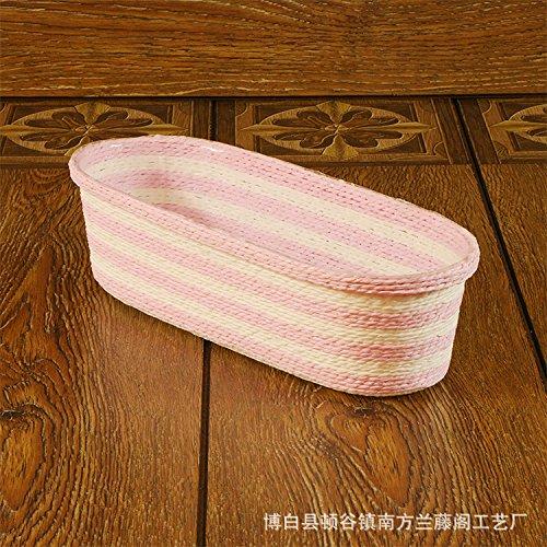 XBR zhisheng supermarkt handgewebten Plastik Korb oval Box Familie dekorative Papier Handwerk,rosa - weiße,30x12x8cm (Papier Dekorative Platten)