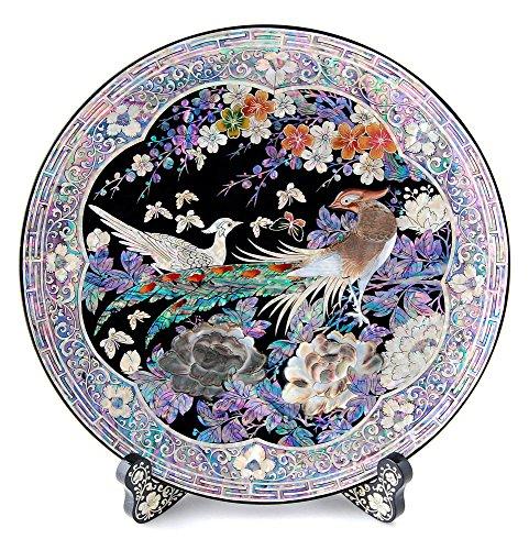 Assiette décorative Plateau circulaire orientale en nacre marqueterie rond pour séjour ou intérieur Support à mur en bois art déco avec motif couple de paon et fleurs Pivoine