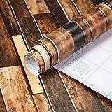 selbstklebende Möbelfolie mit 3D Holz-Optik – Dekorfolie für Möbel, Wände, Küche, Schlafzimmer und Wohnzimmer, 3D-Effekt Möbelfolie, Wandfolie Holz-Streifen, Tapete, abwaschbare Wandaufkleber fancy-fix (45x300cm)