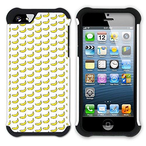 Graphic4You Banane Frucht Hart + Weiche Kratzfeste Hülle Case Schale Tasche Schutzhülle für Apple iPhone SE / 5 / 5S Design #15
