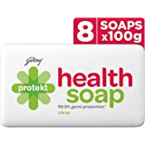 Godrej Protekt Health Bath Soap, Anti-bacterial with 99.9% Germ Protection - Citrus Fragrance, Pack of 8 (100g each)