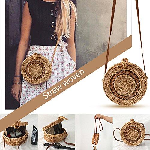 Handgemachte Vintage modische Rattan Stroh Gewebte Tasche Böhmen Stil Runden Bogen Strandtasche Home Storage Bag für Frauen (Vintage Taschen Aus Stroh)