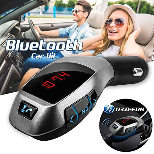 Ocamo Bluetooth Car Kit FM Transmisor MP3 USB SD LCD Cargador inalámbrico...