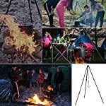 Zerich Camping Tripod Campfire Cooking Dutch Oven Tripod Portable Outdoor Picnic Foldable Cooking Tripod Barbecue Accessory Cooking Lantern Tripod Hanger with Storage Bag for Camping Activities#7824 10