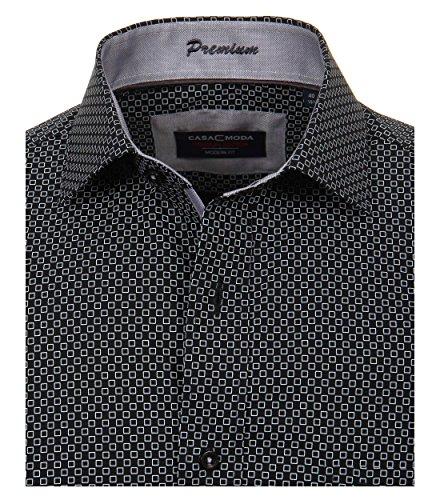 Casa Moda - Modern Fit - Herren Hemd mit mit modischem Druck, Langarm und aus 100% Baumwolle (362612300A) Schwarz (800)