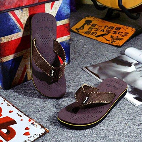 OverDose Männer Sommer Freizeit Breathable weichen Streifen Flip Flops Schuhe Sandalen Herren Slipper Flip-Flops Braun