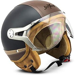 """MOTOHelmets/® MOTO-Visor /""""H44/"""" /· Replacement Visor /· Additional Visor Spare-Part Demi-jet Motorcycle Helmet Open Face Pilot Motor bike Scooter Biker Retro Chopper Cruiser /· CLEAR DARK CHROME RAINBOW"""