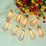 Omika 10Ft 20 LED Rose Gold Bedroom Fairy Lights - USB & Battery Powered, Geometric Boho Metal Cage String Lights for Wedding Party Indoor Patio Camping Wall Decor