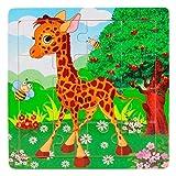 BZLine Puzzles en Bois (16pcs composées) | Jouet Éducatif pour Bébé 1-3ans | Taille: 5.8'x5.8', Faon