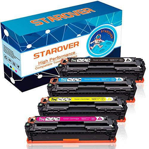 STAROVER 4x Tonerpatronen Kompatibel für drei HP Toner Modelle: Für 131X / 131A CF210X / CF210A CF211A CF212A CF213A passend für HP LaserJet Pro 200 Color M251nw MFP M276nw, Für 128A CE320A CE321A CE322A CE323A passend für HP LaserJet Pro CP1525n CP1525nw CM1415fn CM1415fnw, Für 125A CB540A CB541A CB542A CB543A passend für HP Color LaserJet CP1215 CP1515n CP1518ni CM1312 CM1312nfi, 1 Schwarz + 1 Cyan + 1 Magenta + 1 Gelb