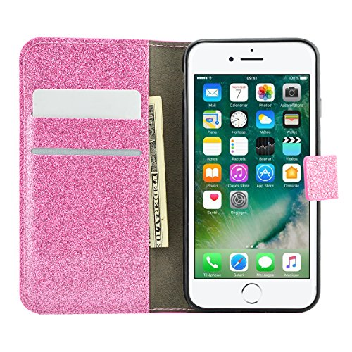 iPhone 8 Lederhülle, Fraelc iPhone 7 Bling Bling Tasche Hülle Glitzer Schutzhülle Flip Case mit Standfunktion & Kredit Kartenfächer Handyhülle +1x Eingabestift Pen für Apple iPhone 7 / iPhone 8, Rose  Rosa