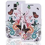 Numerva HTC Desire 500 Hülle, Schutzhülle [Design Bookstyle Handytasche Motiv] PU Leder Tasche für HTC Desire 500 Wallet Case [QJC-146 Schmetterling]