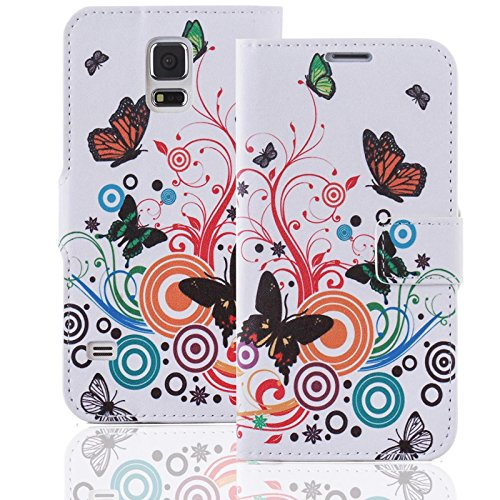 numerva HTC Desire Eye Hülle, Schutzhülle [Design Bookstyle Handytasche Motiv] PU Leder Tasche für HTC Desire Eye Wallet Case [QJC-146 Schmetterling]
