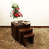 #6: Home Stratosphere Solid Wood Nesting Tables (Set of 3 stools) Best Suitable for Living Room