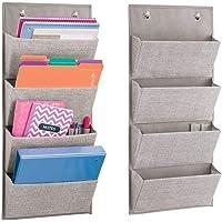 mDesign lot de 2 armoires à suspendre à motif de jute – étagère de rangement polypropylène respirant – meuble de…