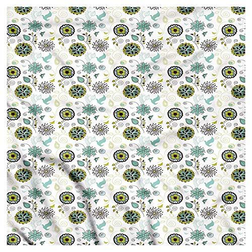 , Bird and Butterflies, Unisex Bandana Head and Neck Tie Neckerchief Headdress Silk-Like 100% Polyester ()