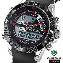 CursOnline Elegante Reloj Hombre Weide WH-1104R Blanco y Manecillas Sport Classic Led Rojas Crono Alarma Water Resistant 30mt. Original de Garantía