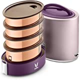 Vaya Tyffyn Jumbo Purple Copper-Finished Stainless Steel Lunch Box Without Bagmat, 1300 ml, 4 Containers, Purple