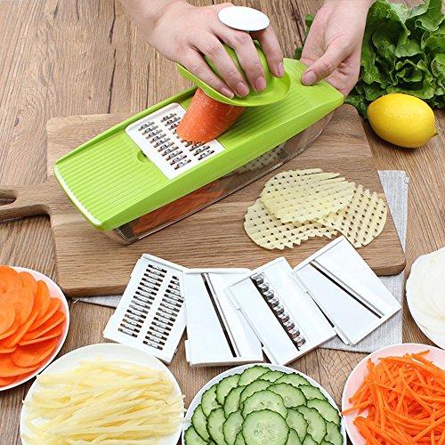 Yunt Mandoline Gemüsehobel Manuelle mit Behälter Wellenschnitt Küchenhelfer Schneiden Multischneider Gemüseschneider Multifunktional Essen Slicer