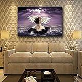 QianLei Tela Pittura Soggiorno Arte Moderna della Parete 1 Pezzo Angeli Pietre d'Acqua Ali Fantasy Ragazze Poster Home Decor-50x75cmx1pcs Senza Cornice