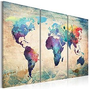 murando – Cuadro en Lienzo 60×40 – Impresión de 3 Piezas Material Tejido no Tejido Impresión Artística Imagen Gráfica Decoracion de Pared – Mapa del Mundi 020113-47