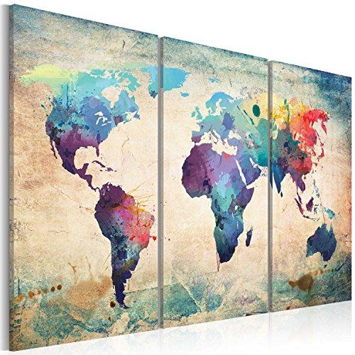 Newsbenessere.com 61eLG5I4eaL B&D XXL 020113-47 - Pannelli da parete in tessuto non tessuto di alta qualità, immagine: planisfero, 60 x 40 cm, 3 pezzi