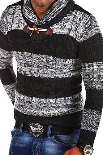 MT Styles Strickpullover mit Schalkragen Pullover M356 Dunkelgrau