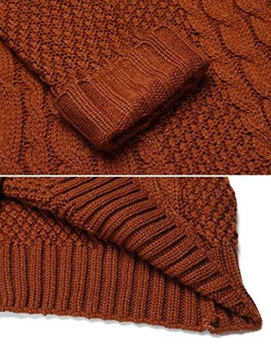 Chigant Damen Langarm Zopfmuster Strickpullover V-ausschnitt Strickshirt Oberteil Sweater Top Pulli Winter Braun