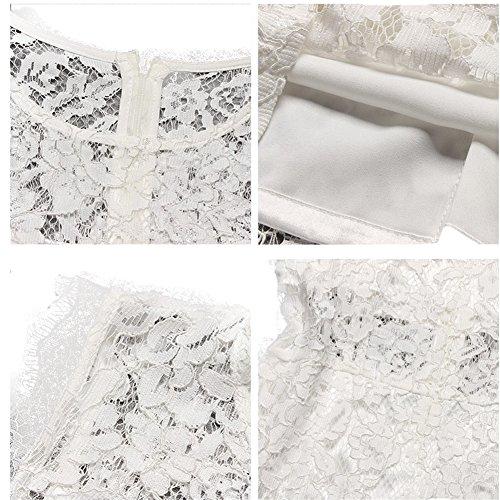 WintCO Damen Tailliertes Spitzenkleid Rundausschnitt ärmelloses Abendkleid Etuikleid mit Spitze Sexy Sommerkleid Weiß