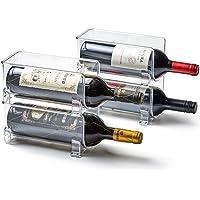 EZOWare Porte Bouteille de Vin Empilable en Plastique Pet, Rangement Bouteille pour Cuisine, Frigo, Plan de Travail…
