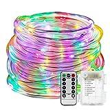100LED Lichterschlauch Seil Lichter,KINGCOO Wasserdichte 33ft/10M 8 Modi Batteriebetriebene Streifen Fee Lichterketten für Innen/Außen Garten Weihnachten Dekolicht(Bunt)