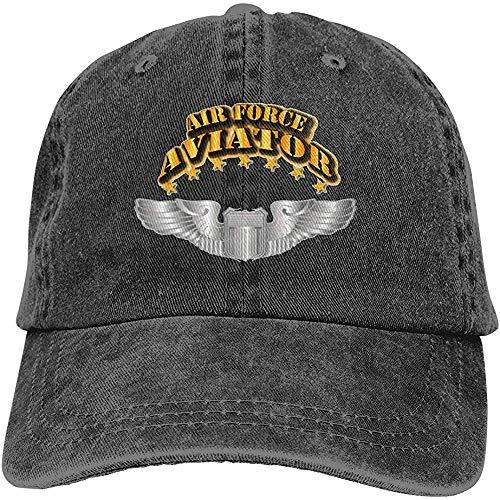 ZZ Power Mütze,Air Force Aviator - Pilot - Basic Wings Verstellbarer Sport-Denim-Baseball-Golf-Cap-Hut im Unisex-Stil