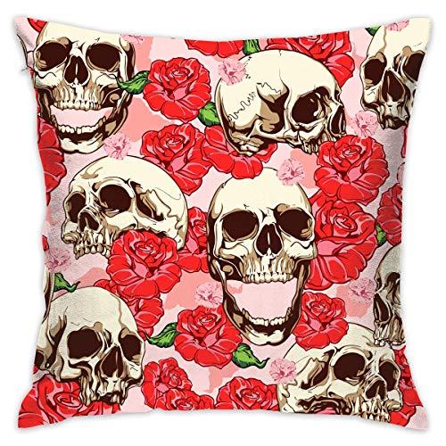 FPDecor Funda de Almohada, Soft Polyester Sugar Skull and Red Rose Design Throw Pillow Cases Decorative...