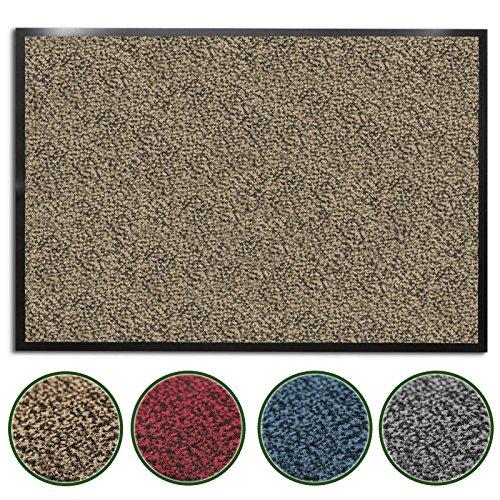 casa pura® Premium Fußmatte für Eingangsbereiche | Schmutzfangmatte in 6 Größen | beige - meliert | 90x150cm