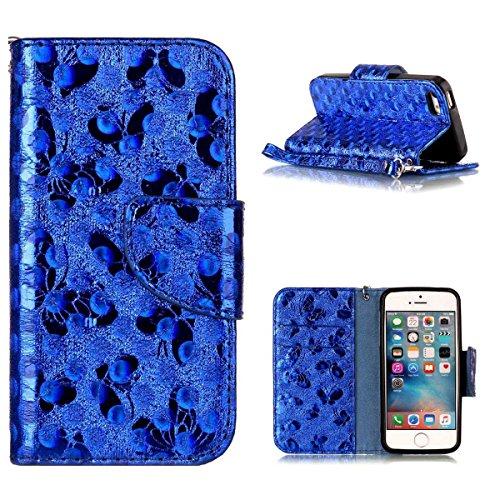 """MOONCASE iPhone 5/iPhone 5s/iPhone SE Flip Cover, [Butterfly Pattern] PU Cuir Étuis Case Built-in Support TPU Antidérapant Housse de Protection pour iPhone 5s/iPhone SE 4.0"""" Bleu Bleu"""