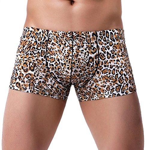 CICIYONER Heißer Verkauf! Männer Patchwork  Unterwäsche  Drucken  Boxer Slip Kurze Hose  Ausbuchtung Beutel Unterhose (L, Braun)