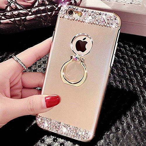 EUWLY Cover iPhone 7/iPhone 8 (4.7), iPhone 7/iPhone 8 (4.7) Case per Ragazza delle Donne, EUWLY Custodia Luxury Bling Crystal Sparkle Glitter Diamante Cover [360 Rotating Anello Supporto] Protezion Oro