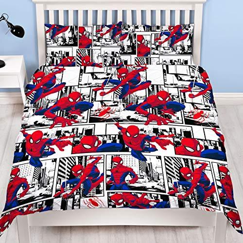 Spiderman Ultimate Metropolis Einzelbett-Bettbezug, wendbar, zweiseitiges Design, inkl. passendem Kissenbezug, Mehrfarbig, Bettbezug für Doppelbett