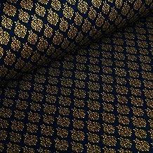 Ornamento - tissu avec une impression dorée brillante - 100% coton - au mètre (marine)