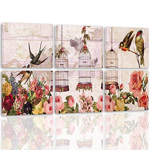 Feeby Frames, Cuadro en lienzo - 6 partes - Cuadro impresión, Cuadro decoración, Canvas, 120x80 cm, VINTAGE, PÁJAROS, FLORES, PATRONES, MULTICOLOR, BEIGE