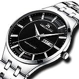 Herren Uhren Edelstahl Männer Luxus 30M Wasserdicht Datum Kalender Einfach Design Ultra Dünn Armbanduhr Geschäfts Beiläufig Mode Kleid Analog Quarz Uhr mit Schwarz Zifferblatt Silber Uhrenarmband